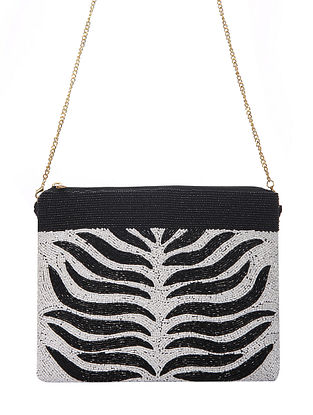 Black White Handcrafted Beaded Cotton Sling Bag