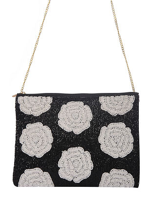 Black White Handcrafted Cotton Sling Bag