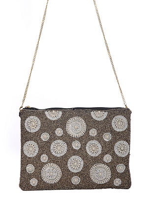 Grey White Handcrafted Beaded Cotton Sling Bag