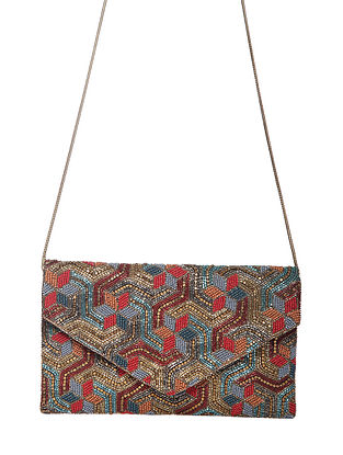Multicolored Handcrafted Beaded Polyester Sling Bag
