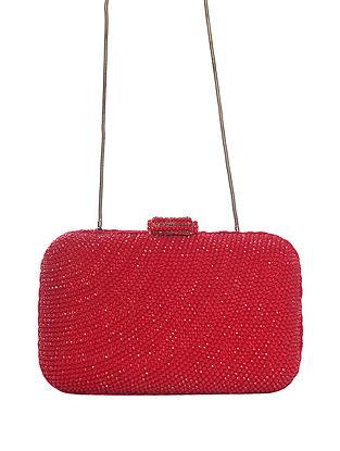 Red Handcrafted Beaded Velvet Clutch