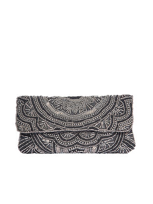 Black Handcrafted Beaded Satin Clutch