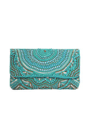 Torquoise Handcrafted Beaded Jacquard Clutch