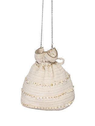 Light Beige Handcrafted Cotton Potli