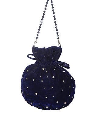 Navy Blue Handcrafted Velvet Potli