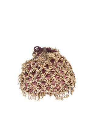 Maroon Handcrafted Polyester Potli
