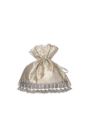 Silver Handcrafted Polyester Potli