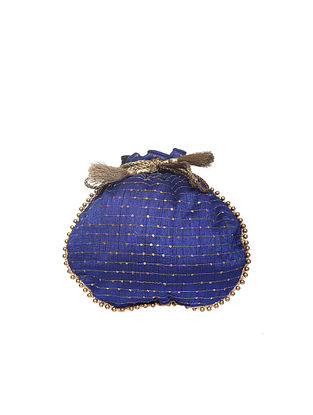 Blue Handcrafted Polyester Potli