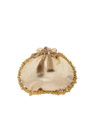 Beige Handcrafted Polyester Potli