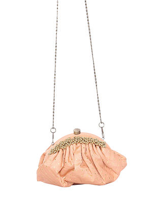 Peach Handcrafted Polyester Clutch