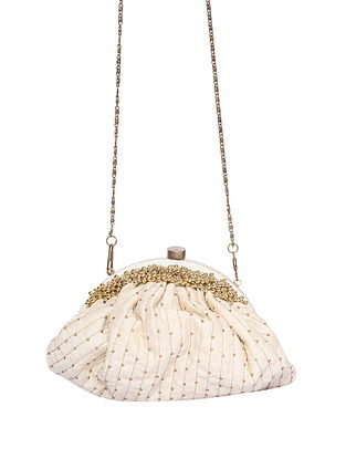 White Handcrafted Polyester Clutch