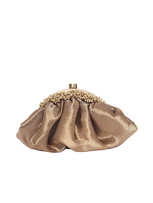 Bronze Handcrafted Polyester Clutch