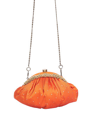 Orange Handcrafted Polyester Clutch