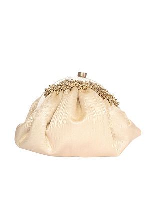 Cream Handcrafted Polyester Clutch