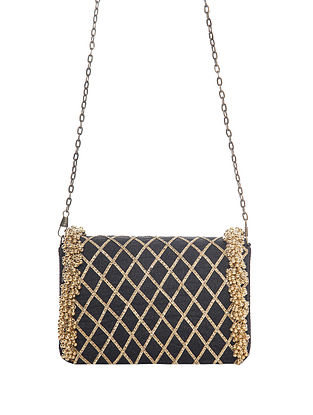 Black Handcrafted Polyester Clutch