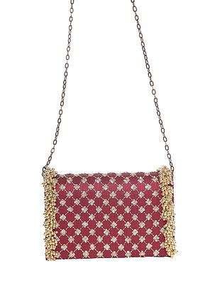 Maroon Handcrafted Polyester Clutch