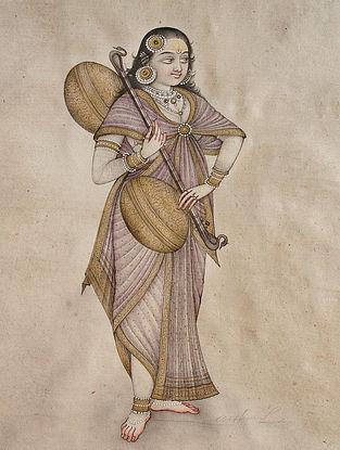 Shri Mahaveer Swamis Lady With Rudra Veena Digital Print On Paper
