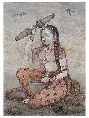 Shri Mahaveer Swamis Woman With Okhali Digital Print On Paper