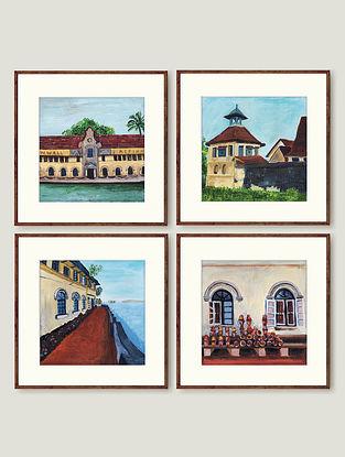 Multicolour Fort Cochin Fine Art Print (Set of 4)