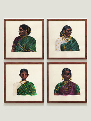 Multicolour Women Of Ceylon Fine Art Print (Set of 4)
