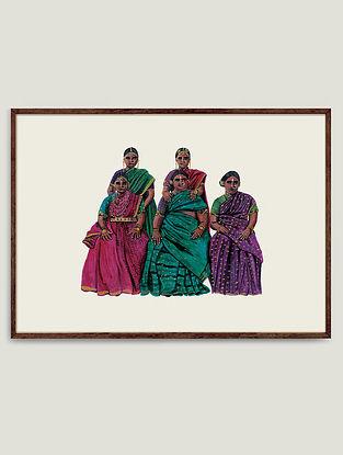 Multicolour Seated Women Fine Art Print