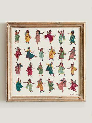 Multicolour Swing In A Sari Fine Art Print