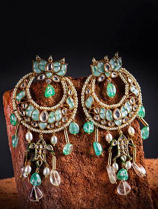 Green Gold Tone Kundan Chandbali Earrings With Jade
