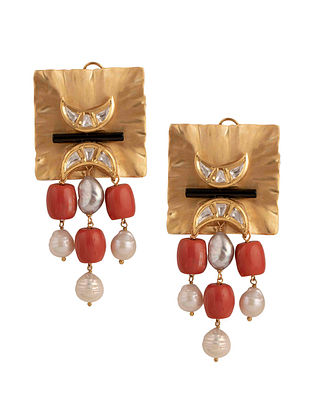 Orange White Gold Tone Kundan Earrings With Onyx And Coral