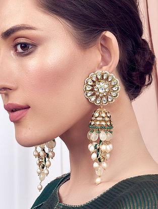 Green White Gold Tone Kundan Jhumki Earrings With Pearls