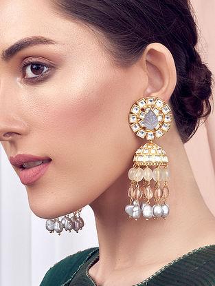 Grey Gold Tone Kundan Jhumki Earrings With Pearls Agate And Jade