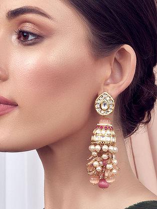 Red Orange Gold Tone Kundan Jhumki Earrings With Pearls