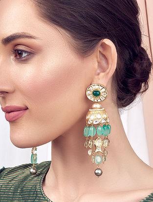 Green Gold Tone Kundan Jhumki Earrings With Pearls And Jade