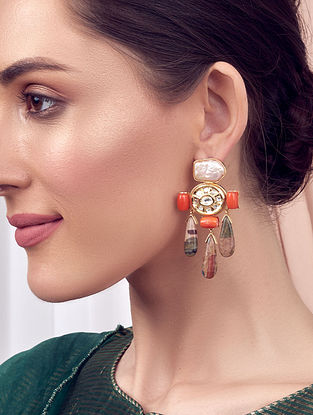 Orange Brown Gold Tone Kundan Earrings With Coral Jade And Pearls