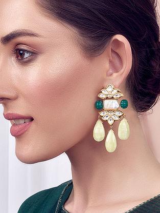 Green Cream Gold Tone Kundan Earrings With Onyx Jade And Pearls