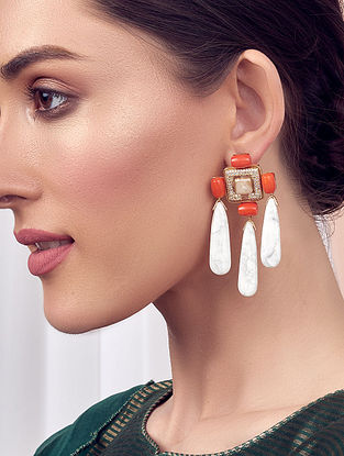 White Orange Gold Tone Kundan Earrings With Coral Jade Pearls And Swarovski