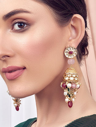 Pink Gold Tone Kundan Jhumki Earrings With Rose Quartz Pearls And Jade
