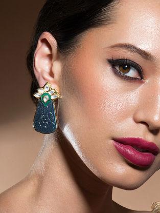 Green Blue Gold Tone Kundan Earrings With Onyx
