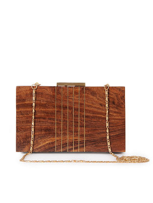 Brown Handcrafted Wooden Clutch