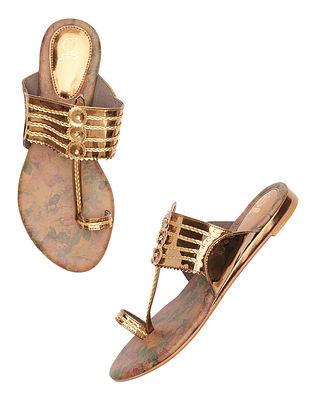 Bronze Handcrafted Leather Kolhapuri Flats
