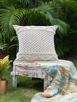 Classic Ivory Macrame Cushion Cover (L-16in, W-16in)
