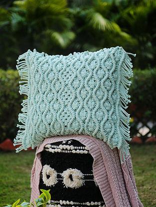 Aqua Green Macrame Cushion Cover with Fringes (L-18in, W-18in)