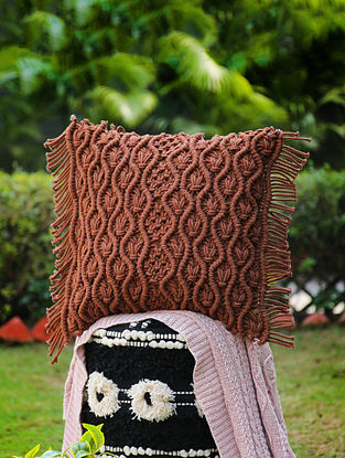 Brown Macrame Cushion Cover with Fringes (L-18in, W-18in)