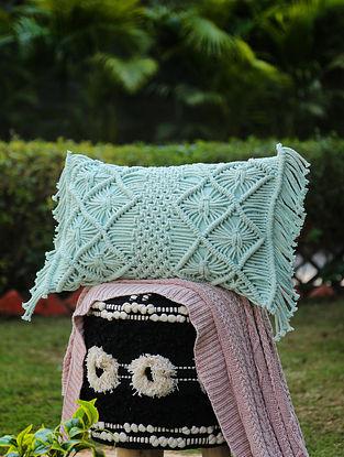 Aqua Green Macrame Cushion Cover with Fringes (L-12in, W-20in)