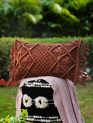 Brown Macrame Cushion Cover with Fringes (L-12in, W-20in)