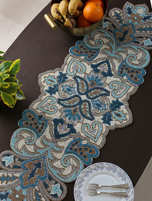 Hand Beaded Runner with White, Blue and Gold Tone Beads (L-37in, W-14in)
