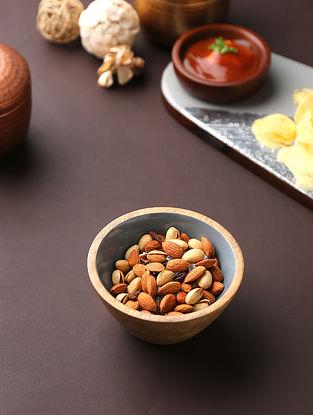 Grey Mango Wood Bowl with Motif (H-2.5in, Dia-5.2in)