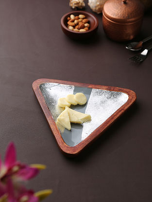 Grey and Silver Mango Wood Platter (L-10.5in, W-11.5in, H-1in)