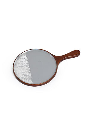 Grey and Silver Mango Wood Pizza Pan (L-16in, H-1in, Dia-10in)