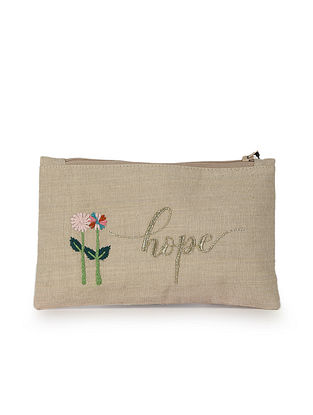 Beige Pink Hand Embroidered Cotton Pouch