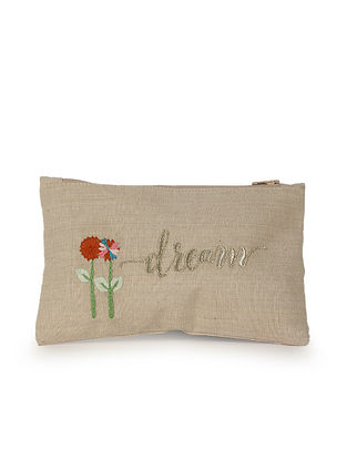 Beige Red Hand Embroidered Cotton Pouch